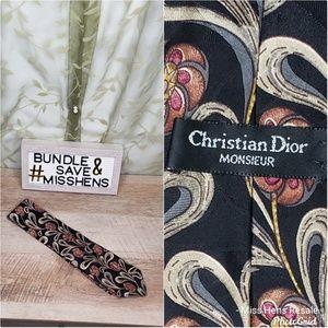 CHRISTIAN DIOR BLACK GOLD TAN FLORAL PAISLEY TIE